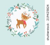 christmas card with floral... | Shutterstock .eps vector #219425824
