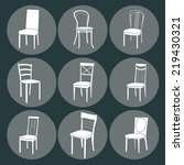 chair icon set. symbol furniture | Shutterstock .eps vector #219430321