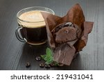 coffee with muffin and mint...   Shutterstock . vector #219431041