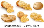potatoes and potato chips and... | Shutterstock .eps vector #219434875