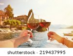 two wineglasses in the hands.... | Shutterstock . vector #219437995