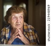old restless emotional woman... | Shutterstock . vector #219448969