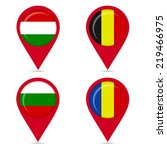 map pin icons of national flags ... | Shutterstock .eps vector #219466975