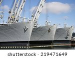 Small photo of ALAMEDA, CA - SEPTEMBER 23, 2014: The Grand Canyon State, Gem State and Keystone State are three of six crane ships assigned to Military Sealift Command. They are currently berthed at Alameda, CA.