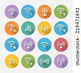 set of sixteen different flat... | Shutterstock .eps vector #219471691