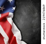 american flag in front of... | Shutterstock . vector #219476869