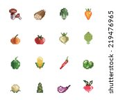 vegetables pixel icons | Shutterstock .eps vector #219476965