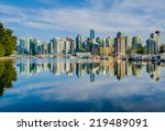 Stock photo vancouver skyline with harbor british columbia canada 219489091