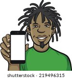 jamaican man showing a mobile...