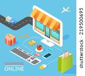 vector concept of online shop... | Shutterstock .eps vector #219500695