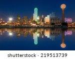 dallas skyline reflected in... | Shutterstock . vector #219513739