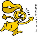 cute yellow rabbit with long... | Shutterstock .eps vector #219531751
