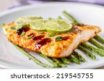 fillet of salmon with asparagus | Shutterstock . vector #219545755