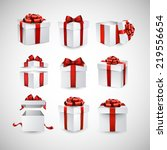 collection of 3d gift boxes... | Shutterstock .eps vector #219556654
