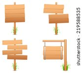 wooden signs with grass. | Shutterstock . vector #219588535