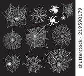 set of 10 different spiderwebs... | Shutterstock .eps vector #219590179