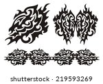 tribal dragon wing and dragons... | Shutterstock .eps vector #219593269