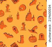vector seamless halloween...   Shutterstock .eps vector #219600034