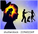 childhood trauma. girl with...   Shutterstock . vector #219602269