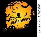 happy halloween background with ... | Shutterstock .eps vector #219603109