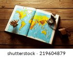 paper ships sailing towards... | Shutterstock . vector #219604879