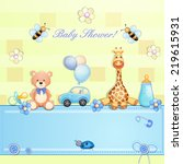 baby shower card with toys.  | Shutterstock . vector #219615931