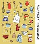 kitchen equipment isolated... | Shutterstock .eps vector #219623947