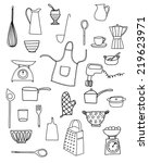 kitchen equipment isolated... | Shutterstock .eps vector #219623971