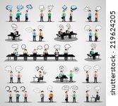 business people with speech... | Shutterstock .eps vector #219624205