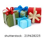 a pile of gift boxes  holiday... | Shutterstock . vector #219628225