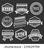 racing insignia set  vintage... | Shutterstock .eps vector #219629704