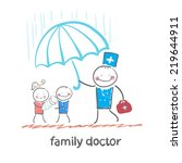 family doctor holding an... | Shutterstock .eps vector #219644911