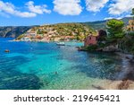 view of assos village and... | Shutterstock . vector #219645421