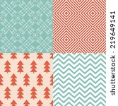 set of simple retro christmas... | Shutterstock .eps vector #219649141