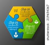 three piece flat puzzle round... | Shutterstock .eps vector #219654367
