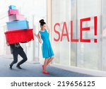woman and man going shopping... | Shutterstock . vector #219656125