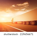 the truck on asphalt road... | Shutterstock . vector #219656671