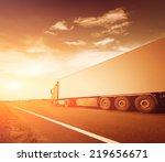 the truck on asphalt road... | Shutterstock . vector #219656671