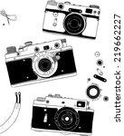 vector retro hand drawn hipster ... | Shutterstock .eps vector #219662227