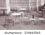 cafe tables and chairs in black ... | Shutterstock . vector #219663565