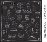 fast foods draw 25 item | Shutterstock .eps vector #219664621