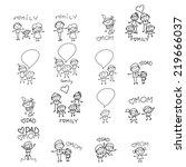 hand drawing cartoon character... | Shutterstock .eps vector #219666037