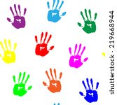 Colorful Hand Prints On White...