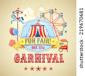 vintage carnival fun fair theme ... | Shutterstock . vector #219670681