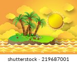 tropical palm on island with... | Shutterstock .eps vector #219687001