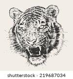 Tiger Head Engraving Vector...