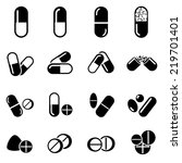pills and capsules icon | Shutterstock .eps vector #219701401