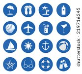 summer and beach icons over... | Shutterstock .eps vector #219716245