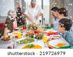 extended family at dining table ... | Shutterstock . vector #219726979