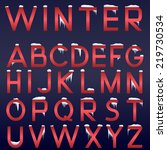 vector winter alphabet. red... | Shutterstock .eps vector #219730534